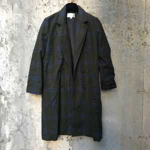 J.O.A. Long Green and blue trench coat
